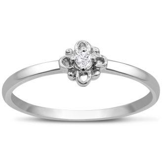 Vintage Diamond Promise Ring In White Gold