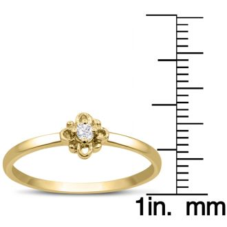 Vintage Diamond Promise Ring In Yellow Gold