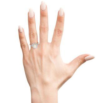 1 1/2 Carat Opal and Halo Diamond Ring In 14 Karat White Gold