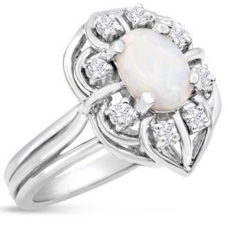 1 Carat Vintage Opal and Halo Diamond Ring In 14 Karat White Gold