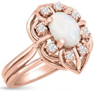 1 Carat Vintage Opal and Halo Diamond Ring In 14 Karat Rose Gold