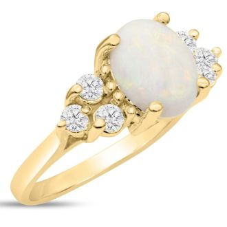 3 Carat Opal and Diamond Ring In 14 Karat Yellow Gold