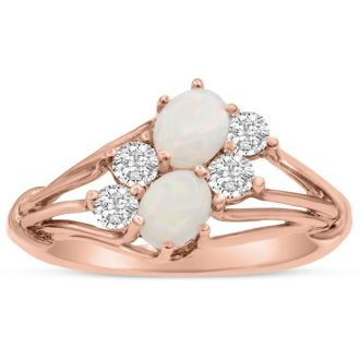 3/4 Carat Double Opal and Diamond Ring In 14 Karat Rose Gold