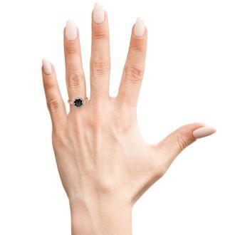 1 Carat Rose Cut Cushion Cut Black and White Diamond Halo Ring In 14 Karat Rose Gold