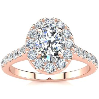 1 1/2 Carat Oval Shape Halo Diamond Engagement Ring in 14k Rose Gold