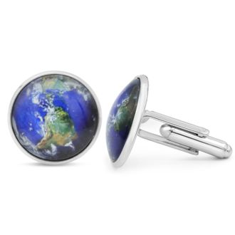 Octavius Stainless Steel World Map Cufflinks