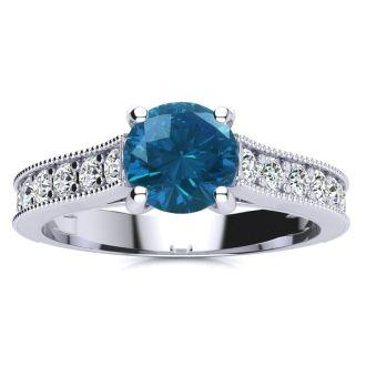 1 1/2 Carat Diamond Engagement Ring With 1 Carat Blue Diamond Center In 14K White Gold. Amazing Gorgeous Blue Diamond Ring!