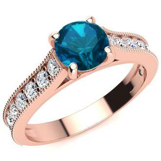 1 1/2 Carat Diamond Engagement Ring With 1 Carat Blue Diamond Center In 14K Rose Gold