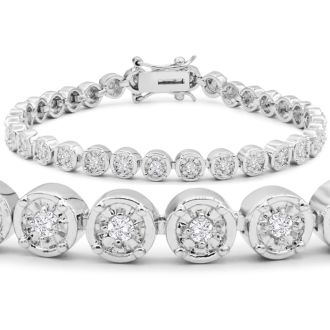1 Carat Miracle Set Diamond Bracelet, 7 Inches. Incredibly Popular.  5 Star Reviewed!
