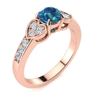 2/3 Carat Blue and White Diamond Promise Ring In 14K Rose Gold