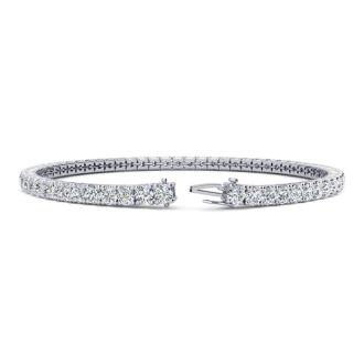 5 3/4 Carat Round E-F Color Colorless Diamond Tennis Bracelet In 14 Karat White Gold