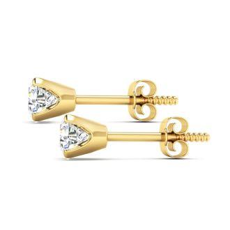 Nearly 1 Carat Diamond Stud Earrings In 14 Karat Yellow Gold