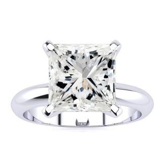 3 Carat Princess Cut Diamond Solitaire Engagement Ring In 14K White Gold