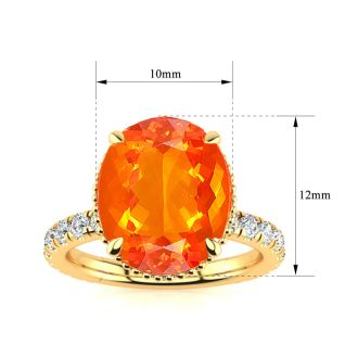 3 3/4 Carat Fire Opal and Diamond Ring In 14K Yellow Gold