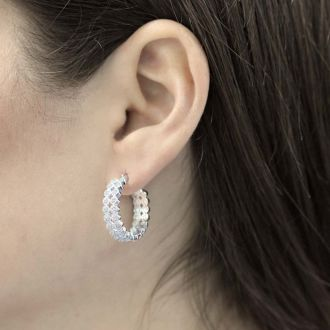1/2 Carat Double Row Diamond Hoop Earrings, 3/4 Inch, Beautiful, Classic, Shiny!