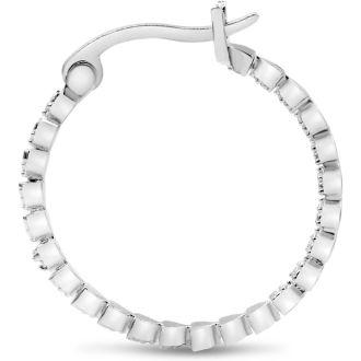 Classic Diamond Hoop Earrings, 1 Inch
