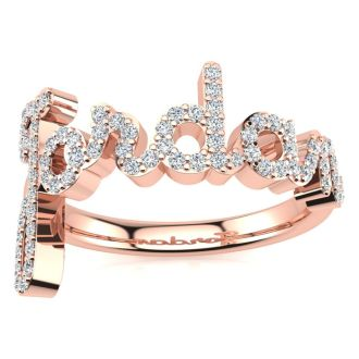 Personalized Diamond Name Ring In 14K Rose Gold - 6 Letters, 3/8cttw