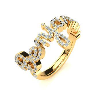 Personalized Diamond Name Ring In 14K Yellow Gold - 8 Letters, 1/2cttw