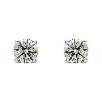 Nearly 3/4 Carat Diamond Stud Earrings In 14 Karat White Gold Long Post Earrings