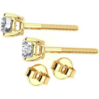 0.85 Carat Diamond Stud Earrings In 14 Karat Yellow Gold Long Post Earrings