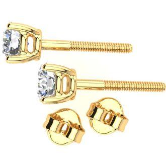 0.28 Carat Colorless Diamond Earrings In 14 Karat Yellow Gold Long Post Earrings