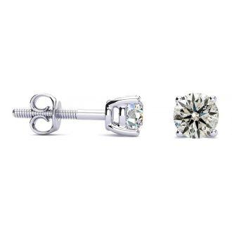 1/2 Carat Diamond Stud Earrings In 14 Karat White Gold Long Post Earrings