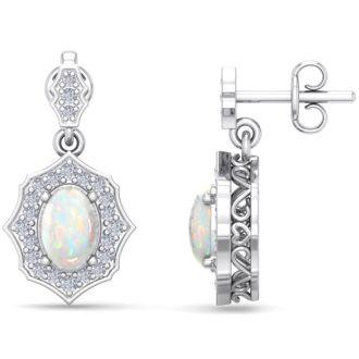 1 3/4 Carat Oval Shape Opal and Diamond Dangle Earrings In 14 Karat White Gold