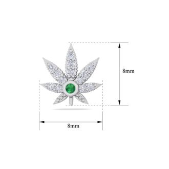1/4 Carat Diamond and Emerald Weed Leaf Earrings In 14K White Gold