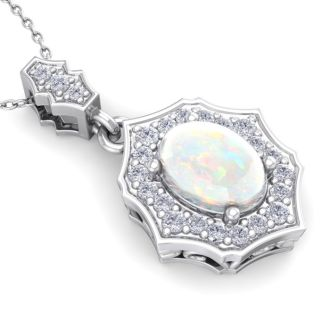 1 1/4 Carat Oval Shape Opal and Diamond Necklace In 14 Karat White Gold, 18 Inches