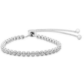 1 Carat Natural Diamond Adjustable Bolo Bracelet. Incredibly Popular!