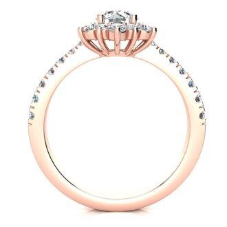 2 Carat Round Shape Flower Halo Moissanite Engagement Ring In 14K Rose Gold