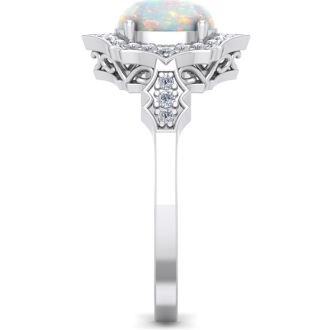 1 1/4 Carat Oval Shape Opal and Diamond Ring In 14 Karat White Gold