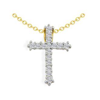 1/2ct Diamond Cross Pendant in 10k Yellow Gold