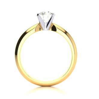 1 Carat Round Diamond Solitaire Ring in 14K Yellow Gold