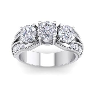 Important 3 Carat Total Diamond Weight Ring in 14 Karat White Gold. This is a Large, Fantastic Diamond Ring!
