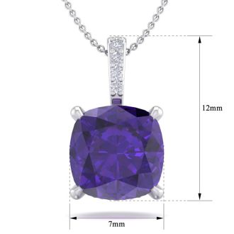 1 Carat Cushion Cut Amethyst and Hidden Halo Diamond Necklace In 14 Karat White Gold, 18 Inches