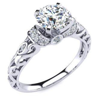 1 1/4 Carat Vintage Moissanite Engagement Ring In 14 Karat White Gold