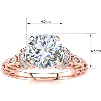 1 1/4 Carat Vintage Moissanite Engagement Ring In 14 Karat Rose Gold