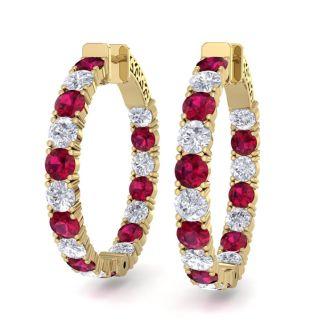 7 Carat Ruby and Diamond Hoop Earrings In 14 Karat Yellow Gold, 1 1/4 Inch