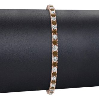 4 1/2 Carat Chocolate Bar Brown Champagne And White Diamond Mens Tennis Bracelet In 14 Karat Rose Gold, 8 Inches