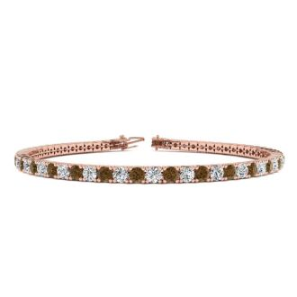 4 3/4 Carat Chocolate Bar Brown Champagne And White Diamond Mens Tennis Bracelet In 14 Karat Rose Gold, 8 1/2 Inches