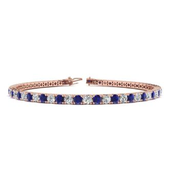 5 Carat Sapphire And Diamond Mens Tennis Bracelet In 14 Karat Rose Gold, 7 1/2 Inches