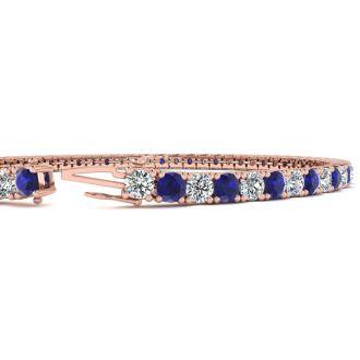 5 Carat Sapphire And Diamond Mens Tennis Bracelet In 14 Karat Rose Gold, 8 Inches