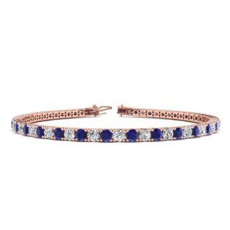 6 Carat Sapphire And Diamond Mens Tennis Bracelet In 14 Karat Rose Gold, 9 Inches