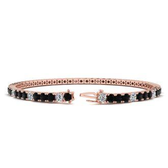 4 3/4 Carat Mens Black Diamond Tennis Bracelet, White Diamond, In 14 Karat Rose Gold, 8 1/2 Inches