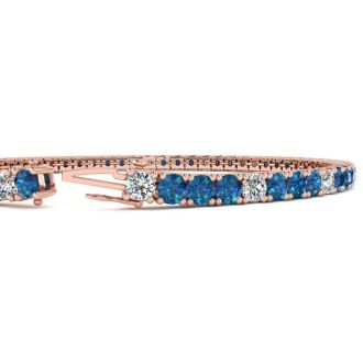 4 1/4 Carat Blue And White Diamond Alternating Mens Tennis Bracelet In 14 Karat Rose Gold, 7 1/2 Inches