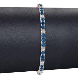 5 Carat Blue And White Diamond Alternating Mens Tennis Bracelet In 14 Karat Rose Gold, 9 Inches