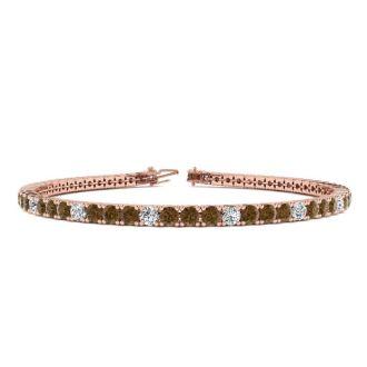 4 1/4 Carat Chocolate Bar Brown Champagne And White Diamond Alternating Mens Tennis Bracelet In 14 Karat Rose Gold, 7 1/2 Inches