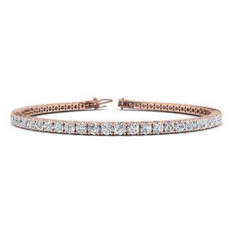 4 1/4 Carat Diamond Mens Tennis Bracelet In 14 Karat Rose Gold, 7 1/2 Inches