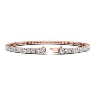 4 1/2 Carat Diamond Mens Tennis Bracelet In 14 Karat Rose Gold, 8 Inches